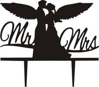 Angel Mr & Mrs Acrylic Bride Groom Cake Flag Toppers Black For Wedding Anniversary Party Cake Decor Hot Sale