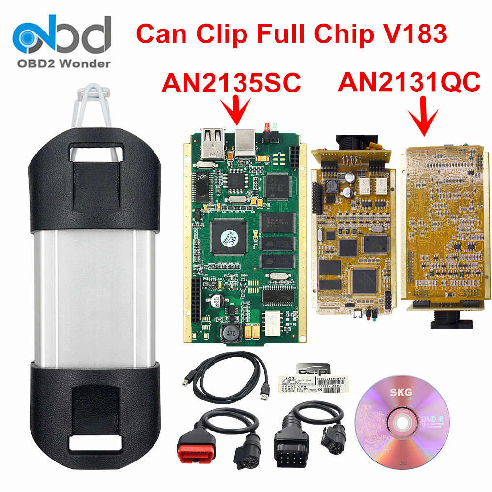 Laatste Kan Clip Volledige Chip AN2135SC AN2131QC OBD2 Diagnostic Interface V190 Auto Diagnostic Tool Golden Pcb Volledige Chip Nieuwe Relais