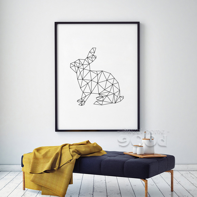 Geometric Rabbits Canvas Art Print Poster Wall Pictures For Home Decoration Decor FA221 4 In Painting Calligraphy From Garden On