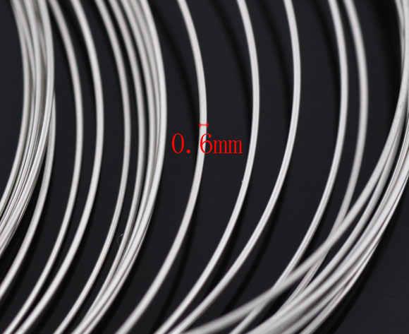 """פלדת חוט זיכרון ואגלי צמידי רכיבים עגול כסף צבע 5.5cm (2 1/8 """") Dia, 50 לולאות"""