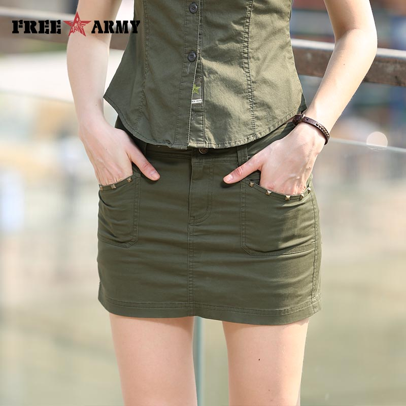 Summer Brand Quality Women Pencil Skirt Shorts Inside Fashion Military Army Green Sexy Skirts Free Shipping Gk-9507A