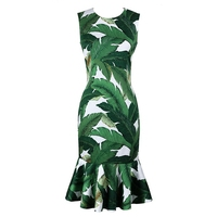 FREE SHIPPING 2016 Summer New Arrival Vintage Sleeveless High Waist O Neck Green Leaves Mermaid Slim Middle Dress Women SY615701