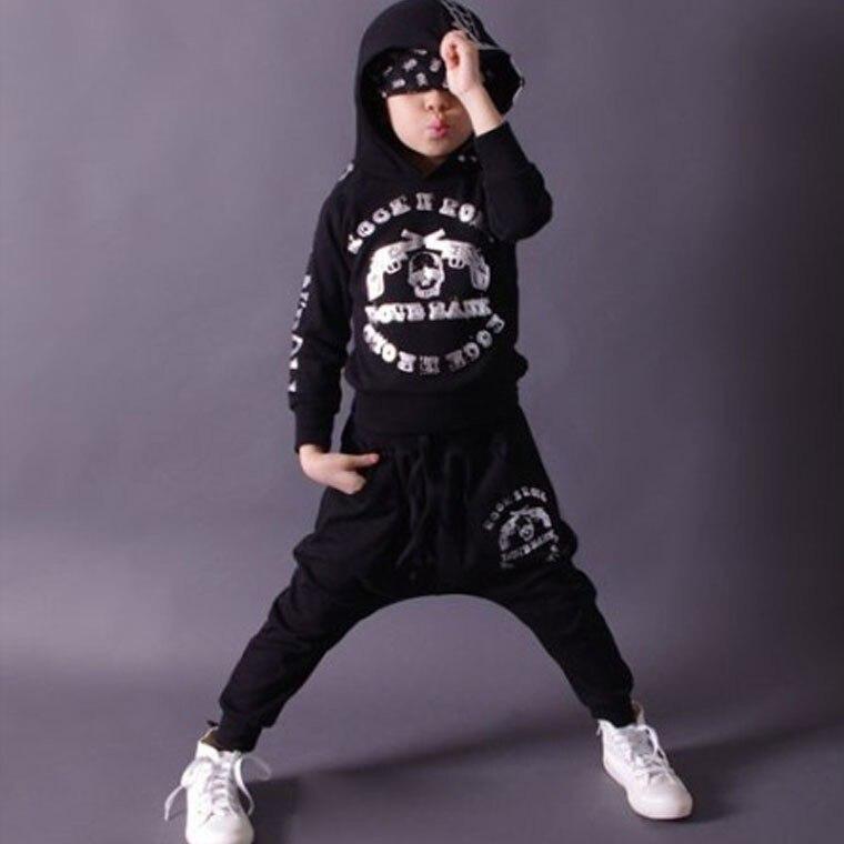 ФОТО Fashion Spring Autumn children's clothing set Black Costumes kids sport suits patchwork Hip Hop dance pant & sweatshirt
