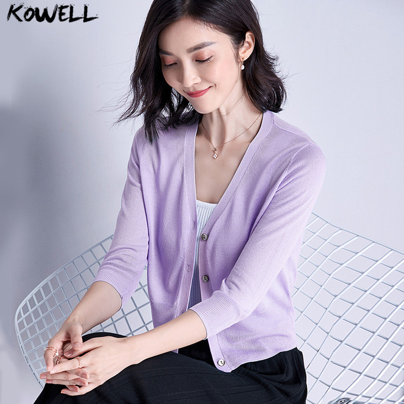 summer 2018 korean cardigans women thin short sweater V-Neck knitted female clothes loos ...