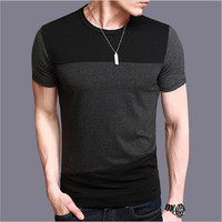 2017 New Summer Men's T Shirt Casual Slim Fit O-Neck Short-Sleeve T-shirt Splicing Cotton T-shirts Tees Tops Homme Plus Size 5XL