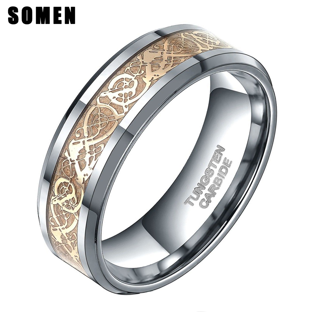Somen Ring Menn Ekte Wolfram Ring 8mm Gull Keltisk Dragon Inlay Polerte Forlovelsesringer Bryllup Band Mote Party Menn Smykker