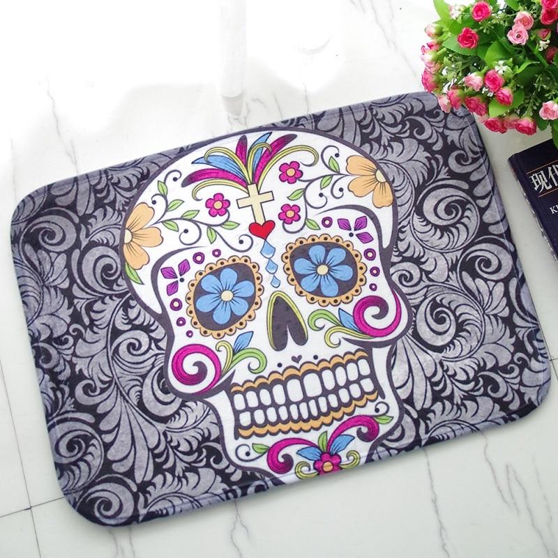 Halloween Floor Mat Sugar Skull Carpet Suede Absorbent