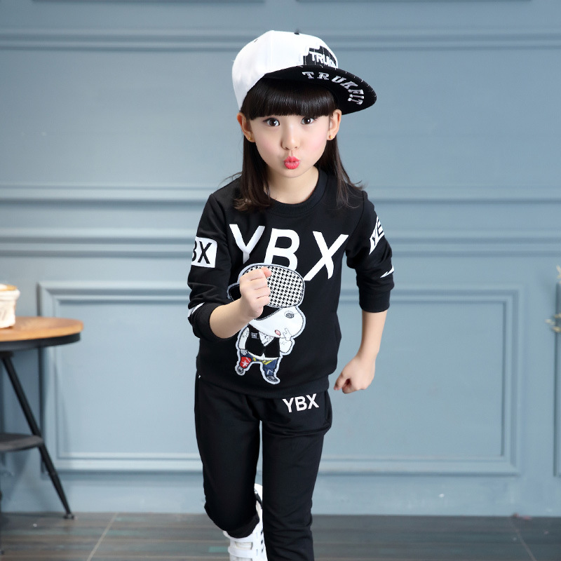 ФОТО 2017 new white black red clothing sets kids character letters sports suit for boy girl kids tracksuit pants sets spring autumn