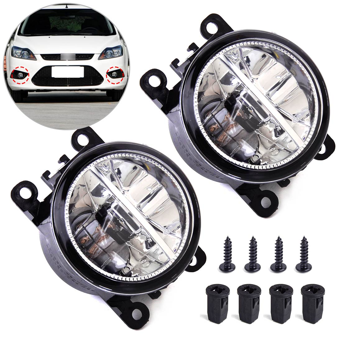 DWCX 2x Right Left LED Fog Light Lamp AC2592111 4F9Z15200AA 33900STKA11 for Ford Focus Honda Acura Lincoln Nissan Subaru Suzuki beler fog light lamp h11 female adapter wiring harness sockets wire connector for ford focus fiesta acura nissan honda subaru