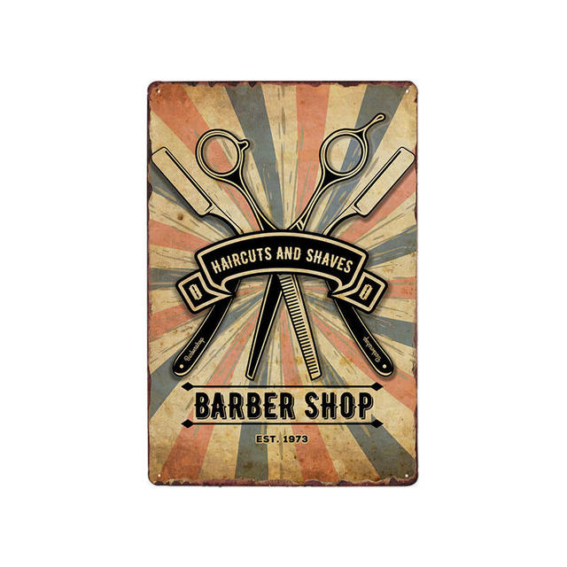 Vintage Barber Shop Metal Signs Barbershop Poster Cafe Bar Pub Retro Plaque Haircut and Shave Beard Iron Plates 20×30 cm