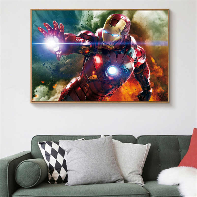 Movie Poster Iron Man Marvel Painting Iron-Man Canvas Print Wall Art Pictures Home Decoration Boys Bedroom Decor Gift