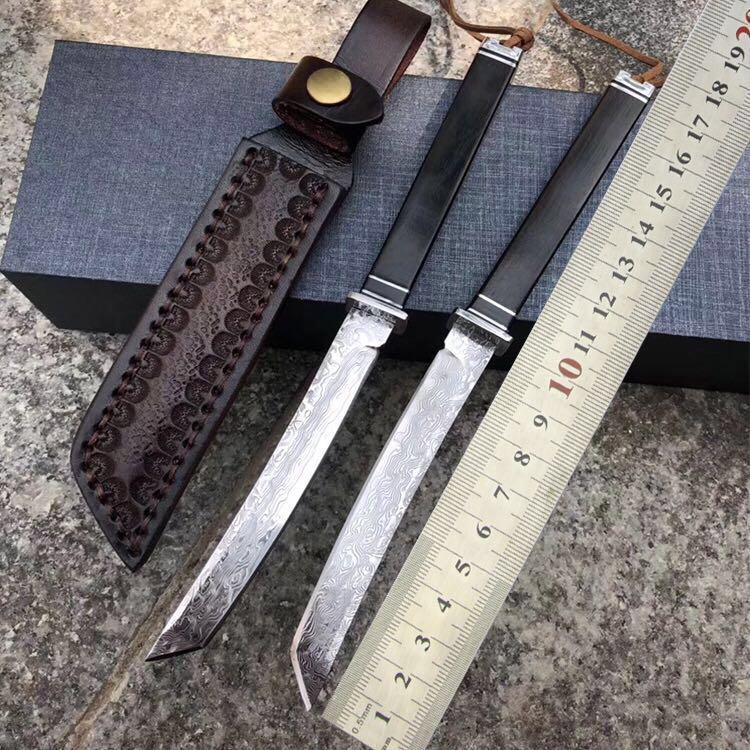 Mini Damascus katana Japanese sword ninja knife Tactical outdoor fruit tools Leather camping survival