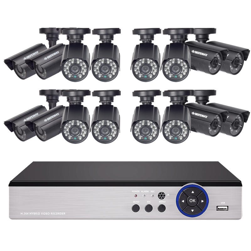 DEFEWAY 16CH 720P AHD DVR Kit 16 x720P 1200TVL Indoor Outdoor Video Security Camera 16 channel