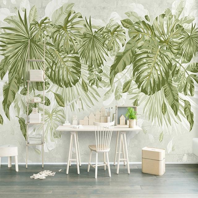 Wandmalerei Wohnzimmer Ideen: Foto Tapete Tropical Green Pflanzen 3D Wandmalereien