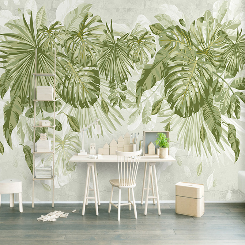 Photo Wallpaper Tropical Green Plants 3D Wall Murals Living Room Bedroom Background Wall Home Decor Papel De Parede 3D Paisagem shinehome black white cartoon car frames photo wallpaper 3d for kids room roll livingroom background murals rolls wall paper