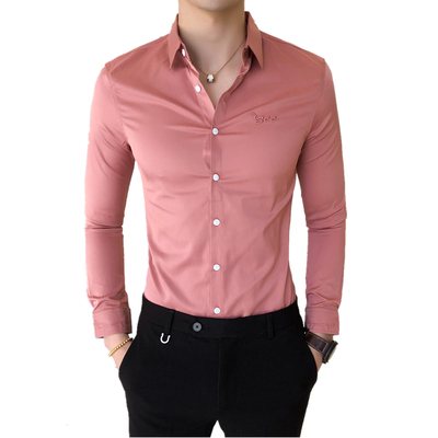 Lower Price with Letter Embroidered Shirt For Men Slim Designer Long Sleeve Social Shirt Men Dress Black White Dress Shirts Camisas Hombre 3xl To Have A Long Historical Standing