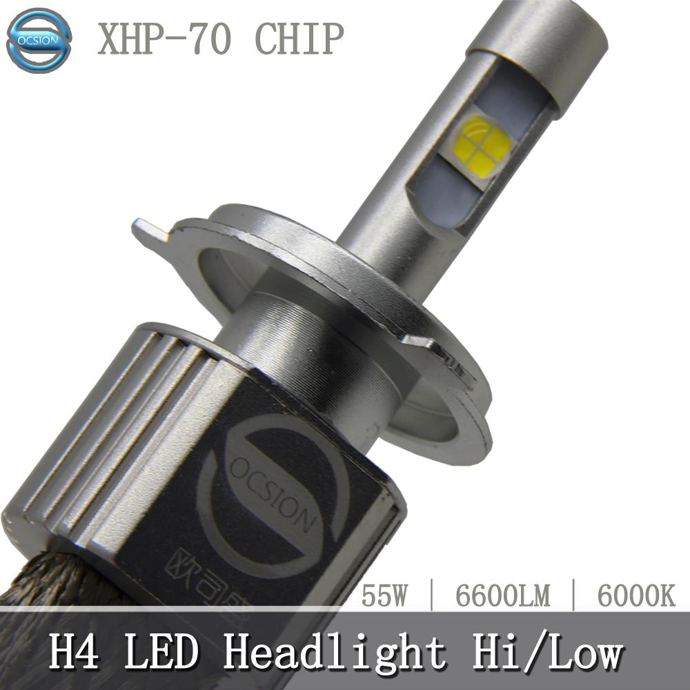 1pcs P70 Motorcycle LED H4 Headlight Bulb 55w 6600lm 6000k XHP-70 Chips Super Bright Car Headlights Fog Lamp H7 H4 hi lo