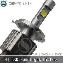 1pcs P70 Motorcycle LED H4 Headlight Bulb 55w 6600lm 6000k XHP 70 Chips Super Bright Car
