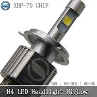 OCSION 1pcs P70 Motorcycle LED H4 Headlight Bulb 55w 6600lm 6000k XHP 70 Chips Super Bright