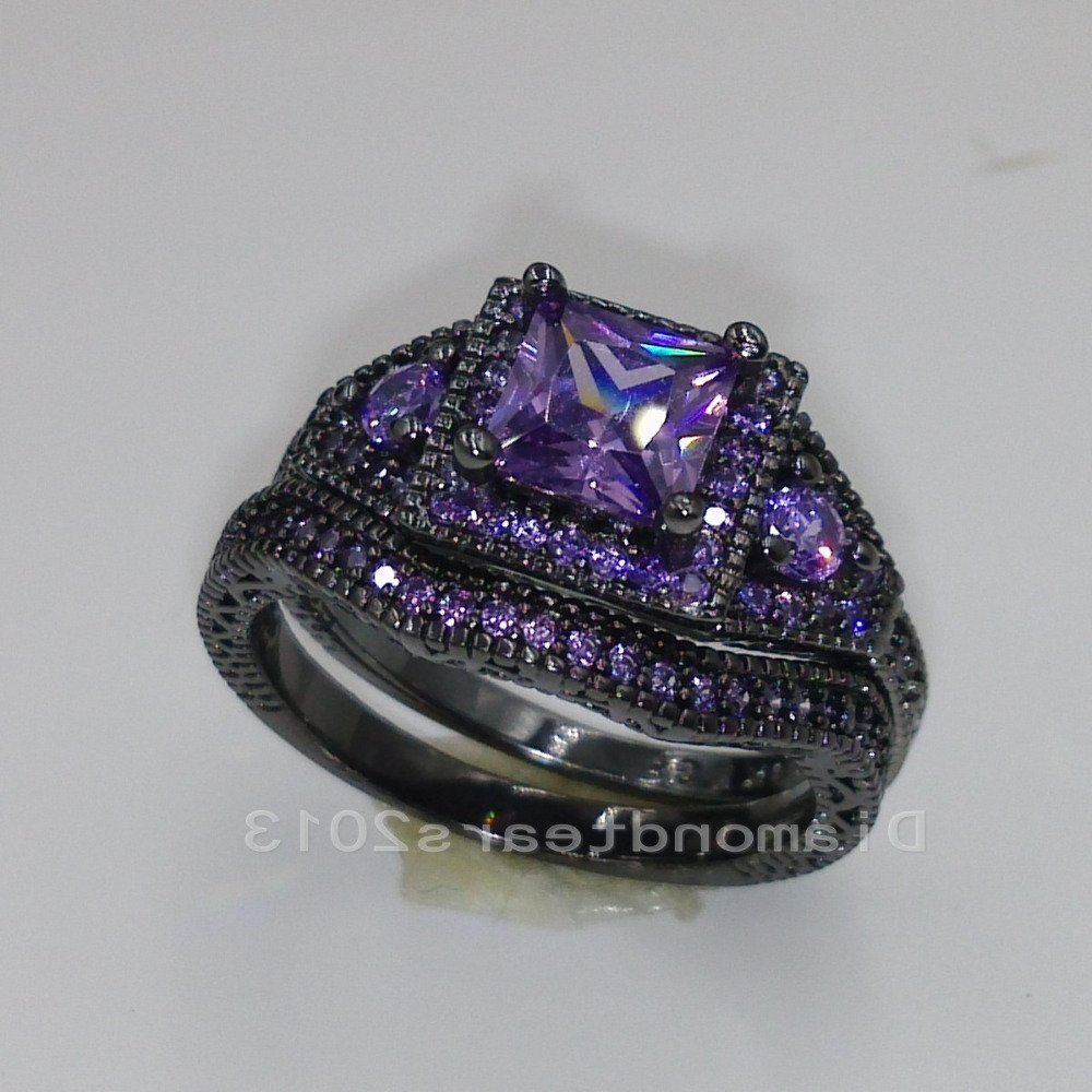 choucong Luxury Jewelry 10kt black gold filled purple AAA Cubic