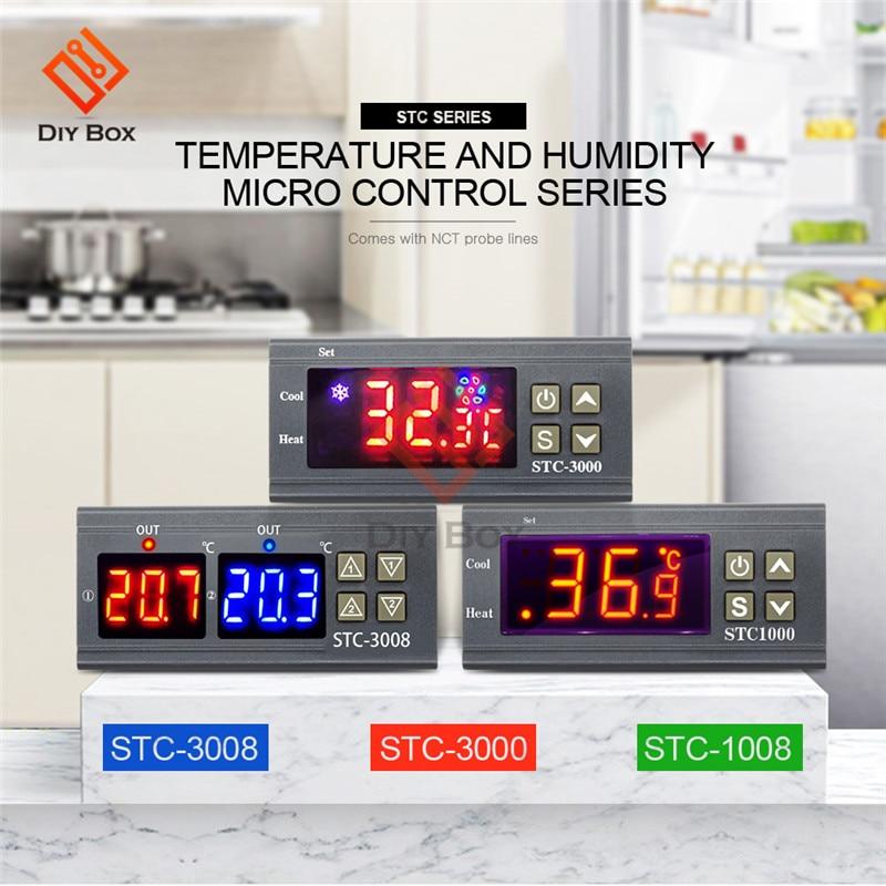 STC-1000 3000 3008 Dual LED Digital Thermostat Temperature Controller DC 12V 24V AC 110V 220V Heating Cooling Regulator