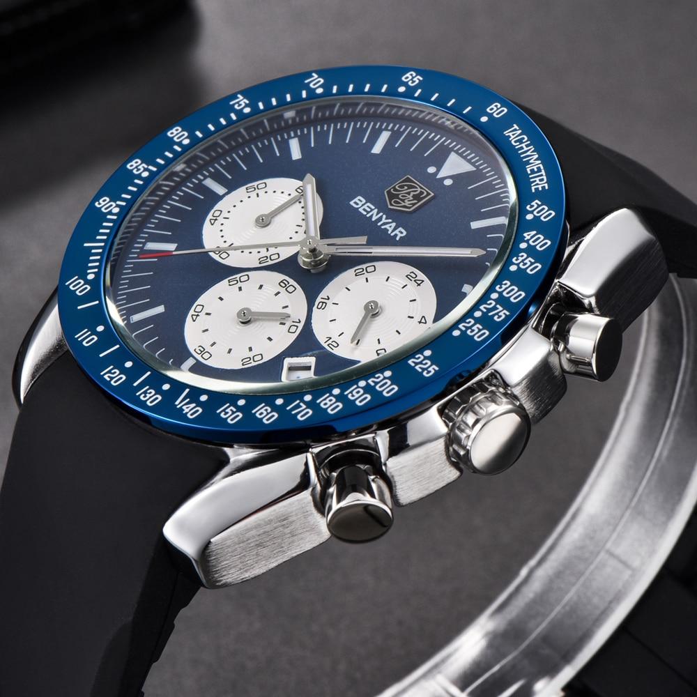 BENYAR Hot Sale Brand Fashion Men Sport Chronograph Silicone Strap Quartz Watches All pointers work Waterproof Watch Clock Male gts 1004 waterproof male japan quartz watch silicone strap