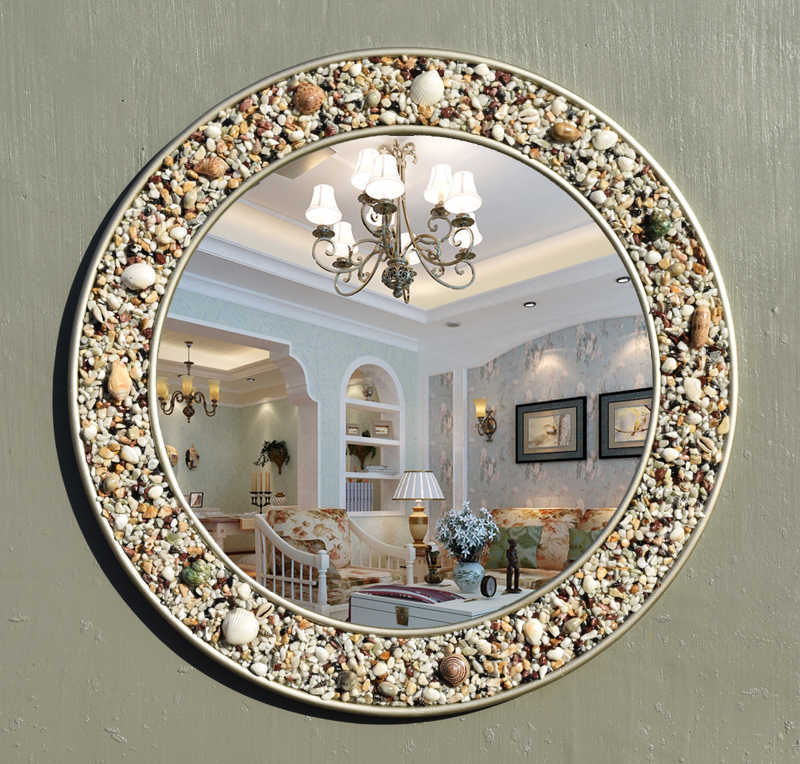 New European Style Mediterranean Bathroom Mirror Natural