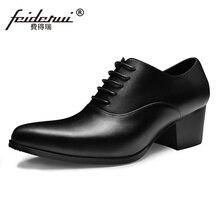Новый итальянский дизайнер человек торжественное платье из натуральной кожи на высоком каблуке оксфорды острый носок увеличивающая рост Мужская обувь ручной работы SS70
