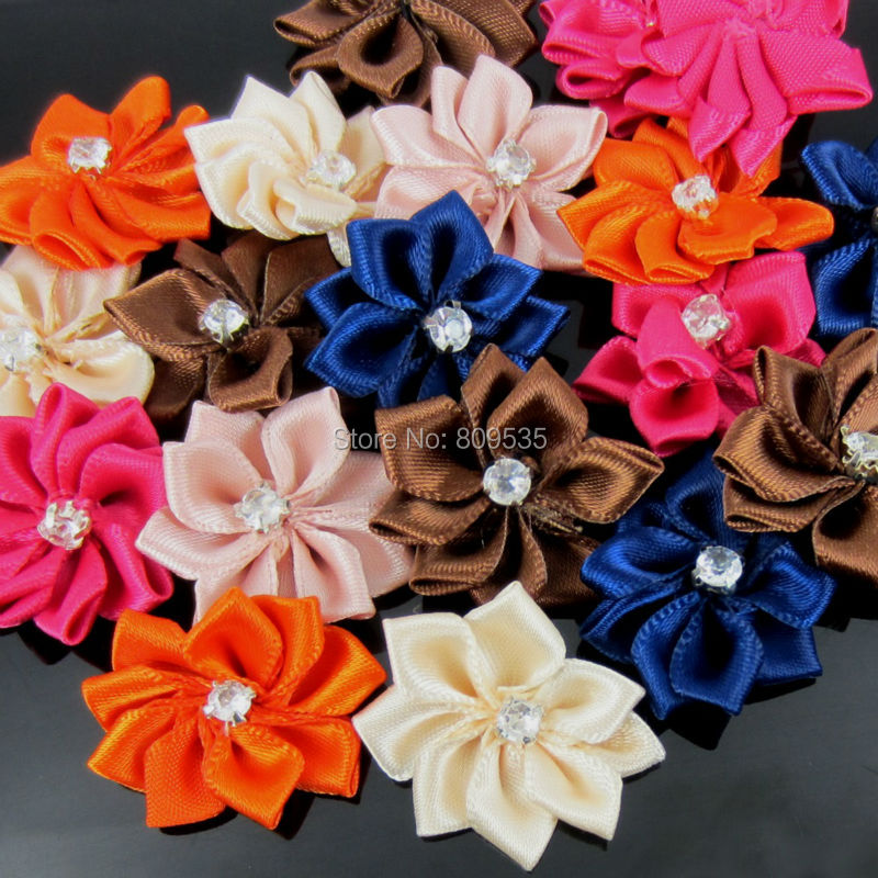 40Pcs Handmade Small Fabric Satin Flowers with Rhinestone Appliques Sewing  Wedding Garment Accessories Flowers 2.8cm-in Artificial   Dried Flowers  from Home ... d1a60493d051