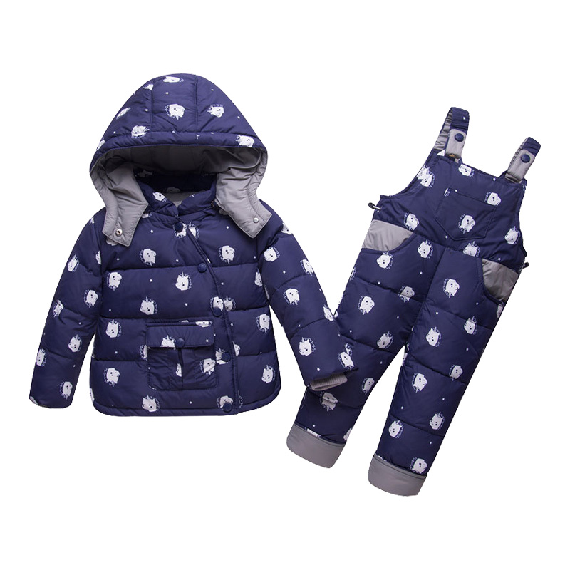 Kids Clothes Girls Down Coat Children Warm Snowsuit Outerwear + Romper Overalls Clothing Set Russian Children's Winter Jackets все цены