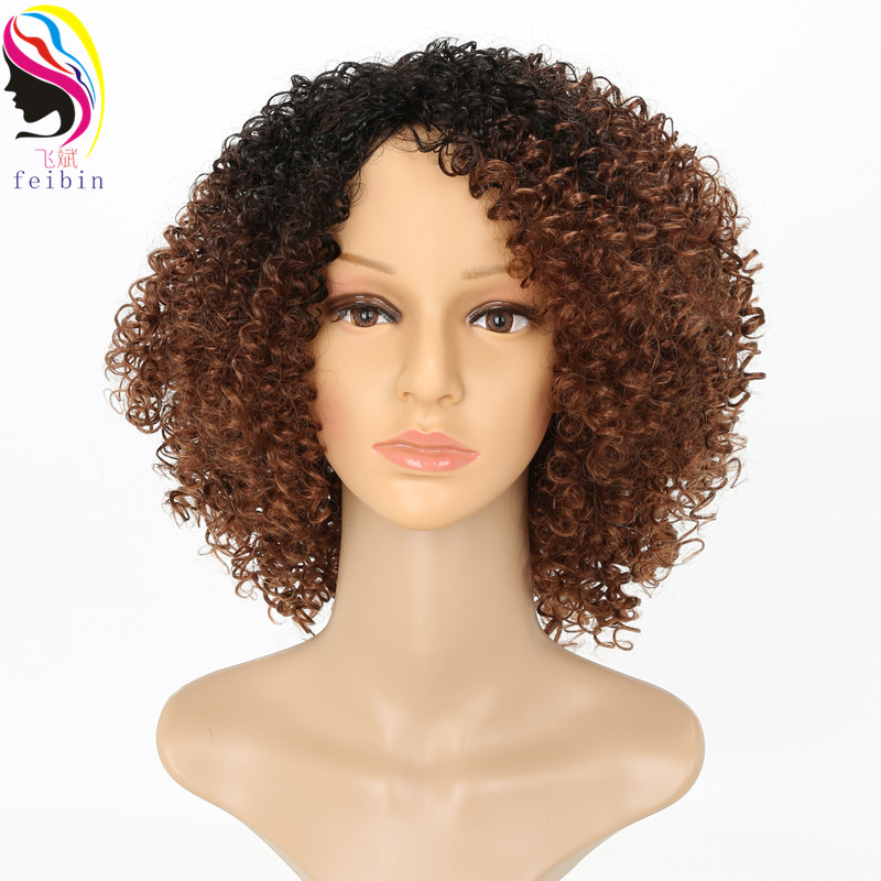 Feibin Short African Wigs For Black Women Synthetic Kinky Curly Ombre Blonde Nature Black Afro Wigs 12-14inches
