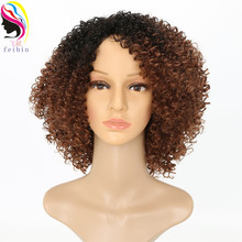 Feibin Short African Wigs for Black Women Synthetic Kinky Curly Ombre Blonde Nature Afro 12-14inches