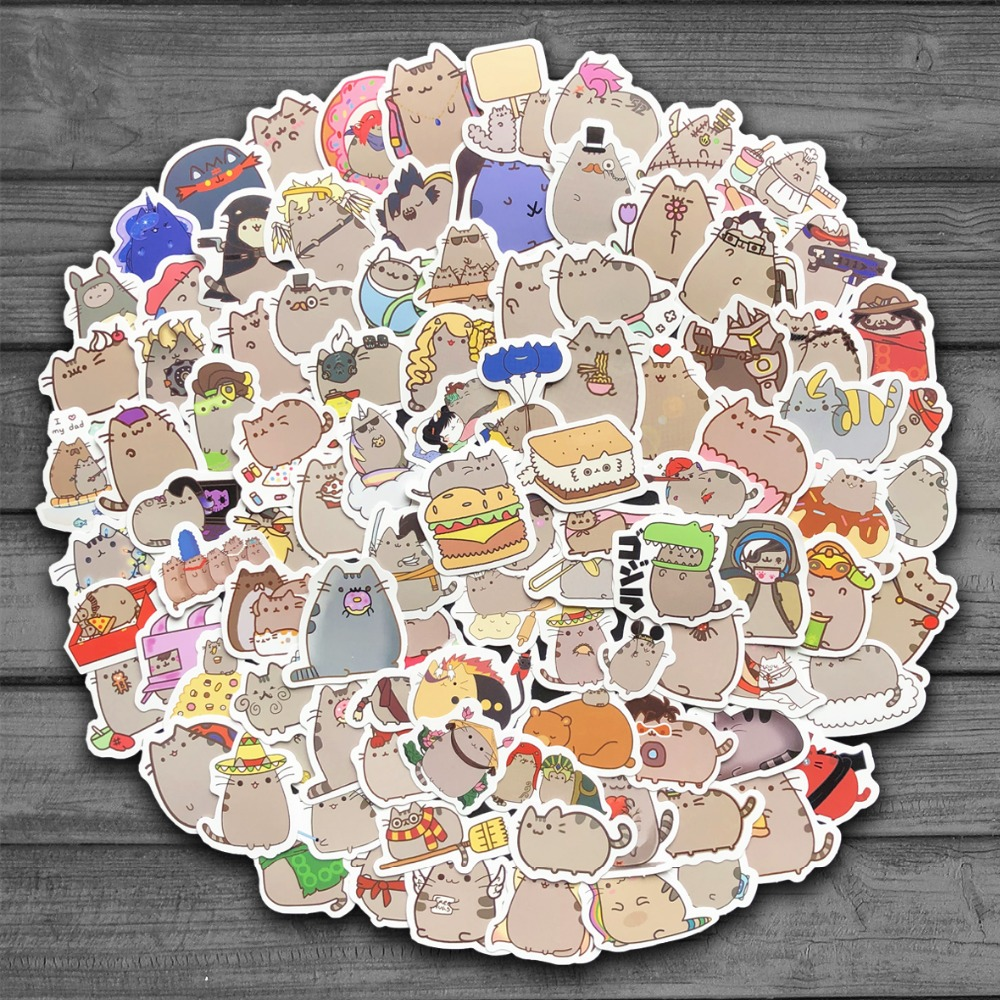 100Pcs/lot Cute Cartoon Cat Stickers For Snowboard Laptop Luggage Fridge Car- Styling Stationery Vinyl Decal Home Decor Stickers