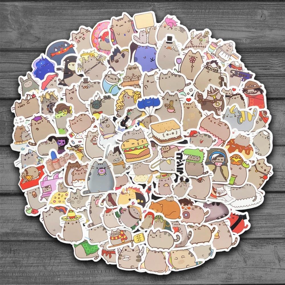 100 шт./лот милые Мультяшные наклейки с котом для сноуборда ноутбука чемодана холодильника автостайлинг канцелярские принадлежности винило...