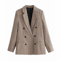 women blazers plaid blazer Double Breasted