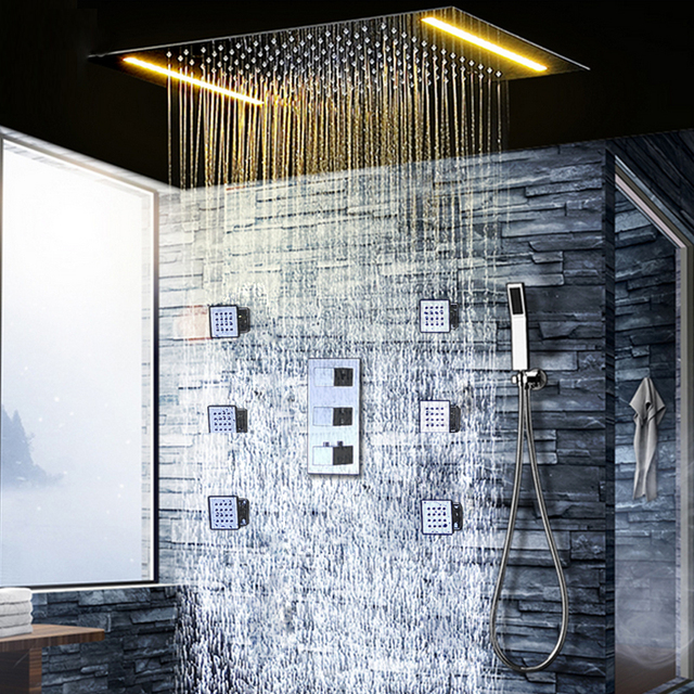 Juego de grifos de ducha de lluvia con termostato de techo de ducha LED cabezales de ducha eléctricos con lluvia
