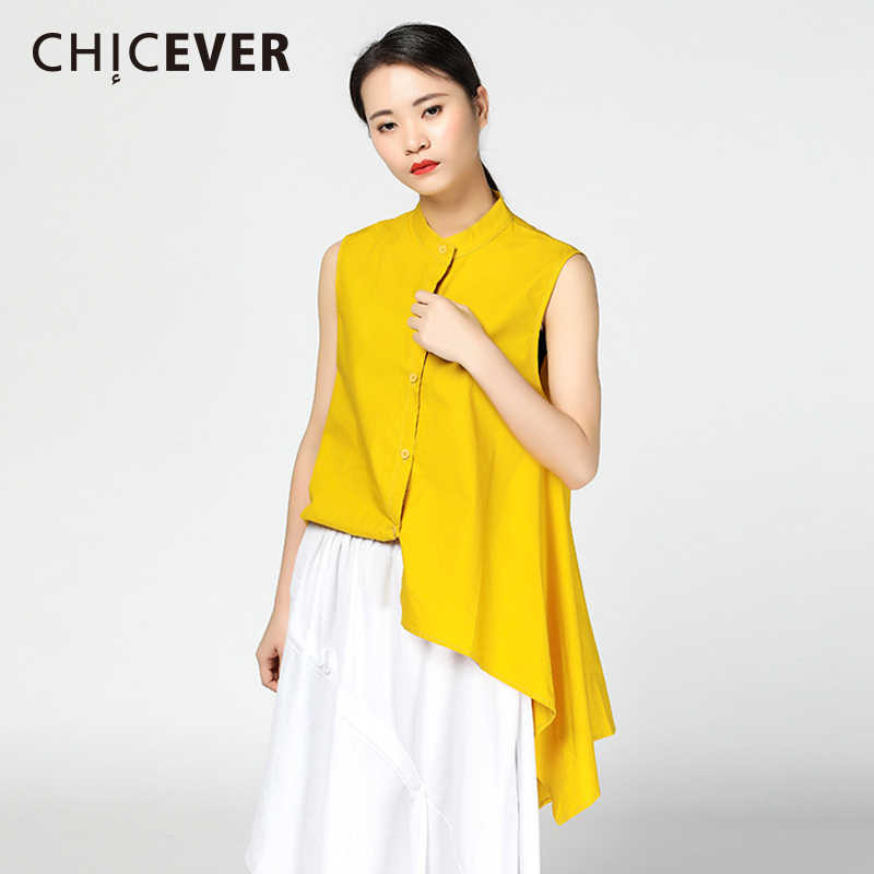 539d38aae9e CHICEVER 2018 Summer Women s Shirt Blouse Top Female Sleeveless Loose Big  Size Hem Irregular Womens Top