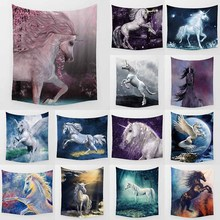 Hot sale fashion many different crazy  horses pattern wall hanging tapestry home decoration tapiz pared