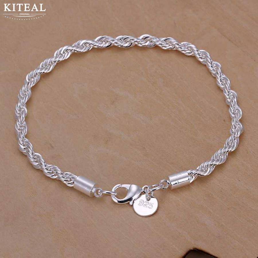 Bracelet 925-Jewelry Silver-Plated Women Wholesale 4mm for Fashion Pulseira Pulseira