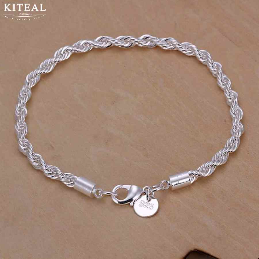 Top Quality 925  jewelry silver plated 4mm 20cm Twist rope bracelet for women&men fashion pulseira masculina wholesale &retail
