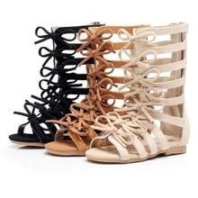 High-quality Genuine Leather Children sandals Summer High-top fashion Roman