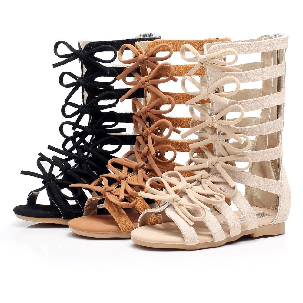 Augstas kvalitātes īstas ādas bērnu sandales Vasaras augstās modes romiešu apavi bērnu meiteņu gladiatoru sandales mazuļu sandales