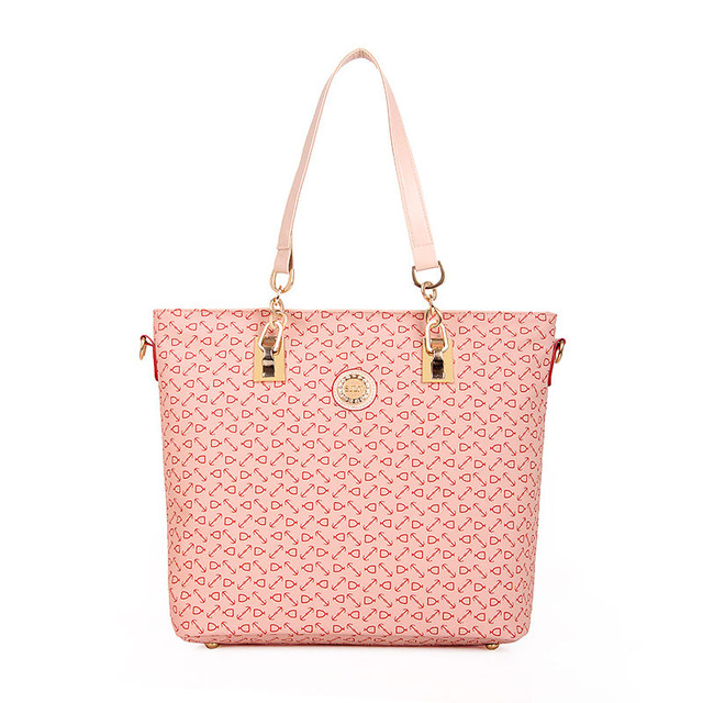 Hot sell Large capacity fashion women leather handbags tote big bag women's casual bags shoulder bags embossed 6 pieces/set