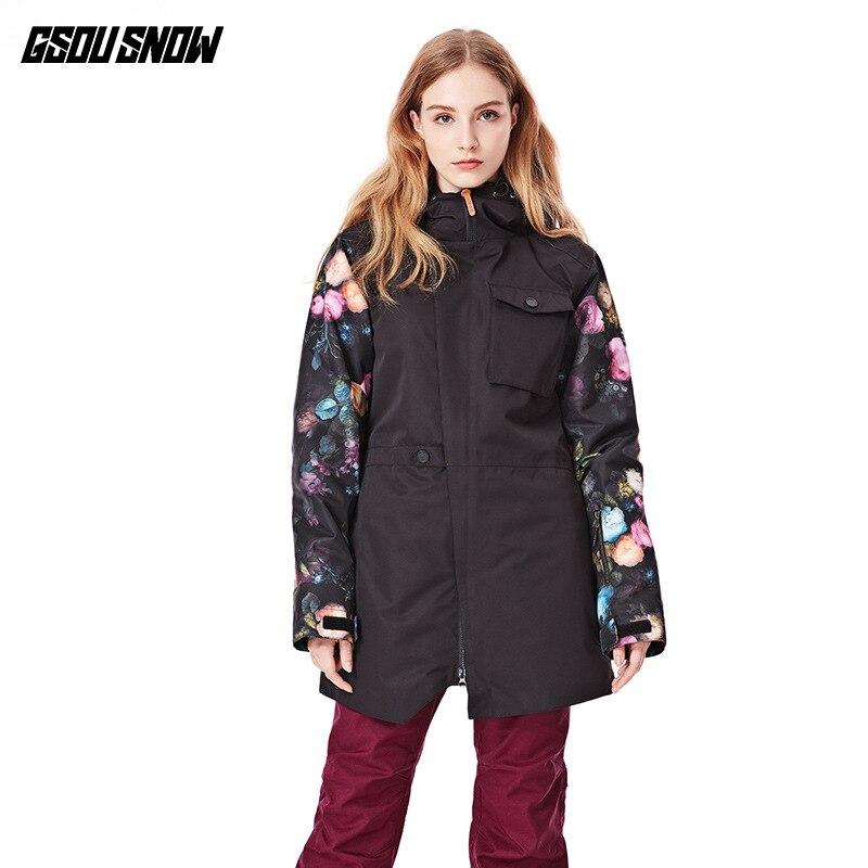 Combinaison de Ski GSOUSNOW coupe-vent femme et isolation thermique 2018 nouveau adulte épaissi Double snowboard hauts femmes.