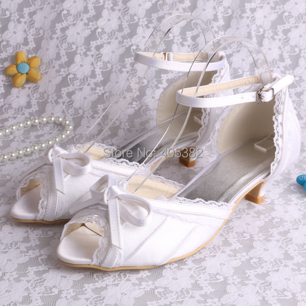 (20 Colors)Custom Handmade Pretty Ladies Low Heel Bridal Shoes Sandals Whitte with Lace Bows