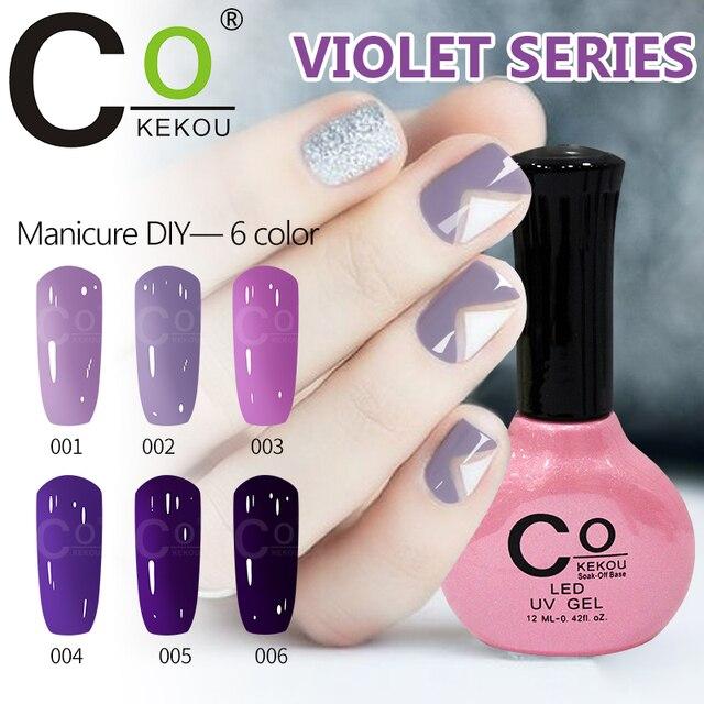 KoKEKOU 12 ml púrpura Color rosa serie Gel esmalte de uñas para la ...