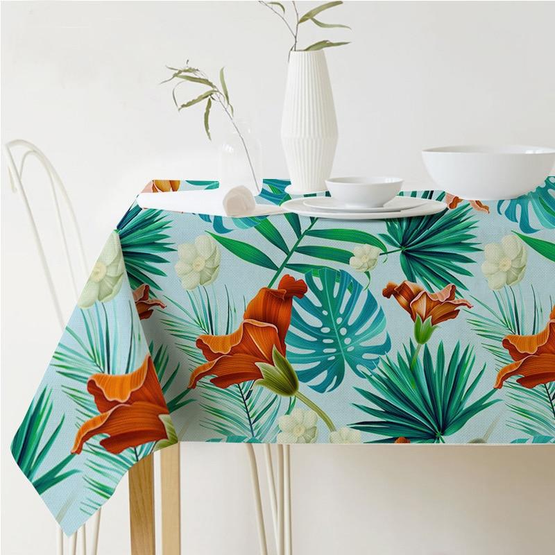 Скатерть прямоугольная в пасторальном стиле тропических растений печатных скатерть защиты дома и элегантные украшения покрытие стола