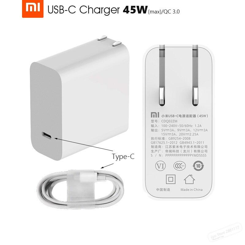 bilder für Original Xiaomi Mi USB-C 45 Watt (Max) ladegerät Intelligente Ausgabetyp-C Port USB PD 2,0 QC 3,0 Schnelle Lade Geschenk C2C Kabel