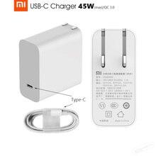 オリジナルxiaomi mi USB C 45ワット(max)充電器スマート出力タイプ cポートusb pd 2.0 qc 3.0クイックチャージギフトc2cケーブル