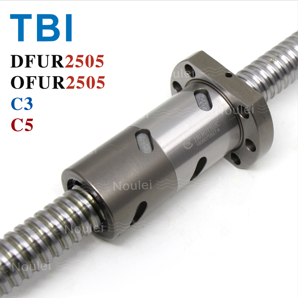 TBI C3 C5 2505 Ball screw 5mm lead with DFUR2505 Ballnut CNC anti backlash 500mm 600mm